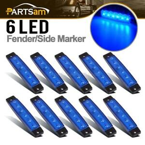 10pcs 6 Led Super Blue Clearance Side Marker Trailer Light Van Waterproof 3 8in