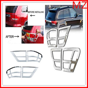 For 11 13 Jeep Grand Cherokee Chrome Tail Light Trims Covers Rear Trunk