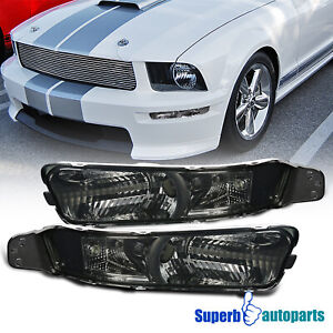 For 2005 2009 Ford Mustang Front Bumper Lights Signal Lamps Smoke