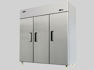 new Atosa Mbf8003 Upright Stainless 3 door Freezer Top Mount Warranty