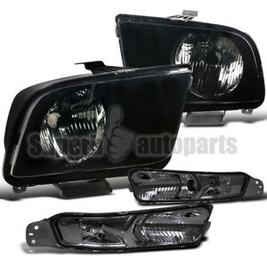 For 2005 2009 Ford Mustang Gt Black Headlights front Bumper Signal Lights Smoke