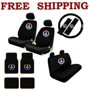 New 17pcs Set Rainbow Peace Car Front Rear Seat Covers Carpet Floor Mat