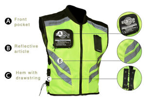 Adventure Touring Motorcycle Safety Vest Green Reflector Summer Mens Riding Gear