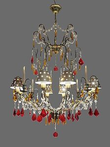 Huge Crystal Wrought Iron Chandelier W Metal Shades Takes 8 Bulbs 4 Candles