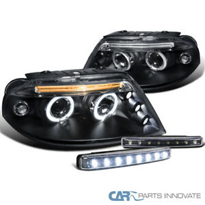 For 01 05 Vw Passat B5 Black Halo Projector Headlights 8 led Fog Bumper Lamps