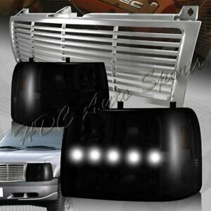For 2000 2006 Chevrolet Tahoe Led Drl Conversion Smoke Headlights chrome Grille