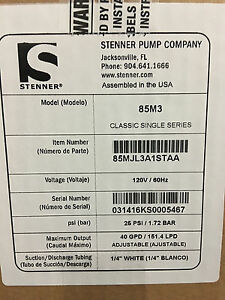85m3 New Stenner 40 Gallon Per Day Chlorine Injection Pump Chemical Feeder 120v