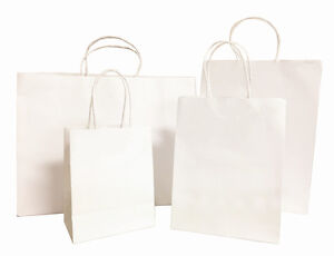 50pc White Small large Kraft Paper Bags Shopping Handle Wedding Party Gift Bags