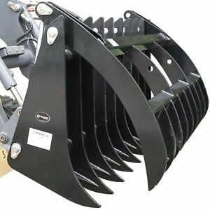 72 Root Grapple Rake Skid Steer Clamshell Attachment Rock Tractor Bobcat