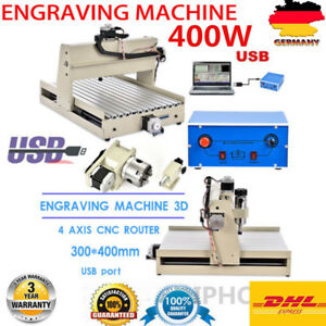 Usb 4axis 3040 Cnc Router 3d Engraver Engraving Drilling Milling Machine 400w