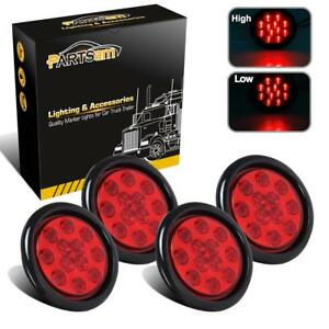 Set 4 Red 12 Led 4 Round Truck Trailer Brake Stop Turn Tail Lights Submersible