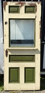Old Vtg Antique Wavy Glass Window Exterior Entry Exit Chippy Paint Wooden Door