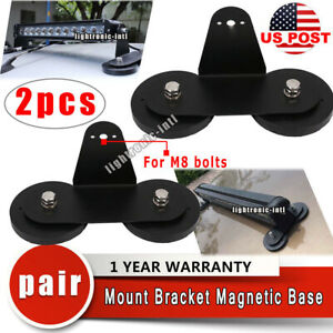 2x Strong Powerful Mount Bracket Holder Magnetic Base Roof Led Light Bar Offroad