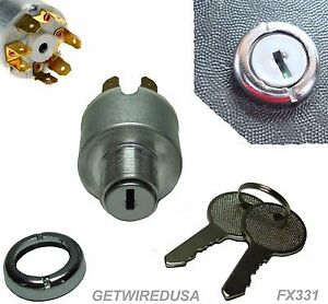Universal Ignition Switch Flush Mount 12 V 7 Wire 2 Key 4 Position On Off Start