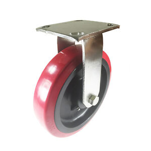 8 X 2 Stainless Steel Heavy Duty polyurethane Wheel Caster Rigid