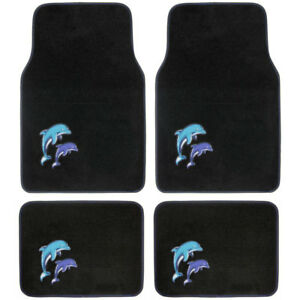 New Blue Purple Twin Dolphins Car Truck Front Rear Back Carpet Floor Mats