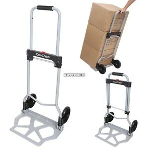 Cart Folding Hand Truck Dolly Push Collapsible Trolley Luggage Aluminium 220 Lbs