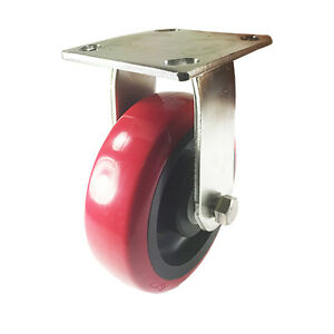 6 X 2 Heavy Duty Stainless Steel polyurethane Wheel Caster Rigid