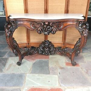 1860 S Carved Walnut Marble Top Console Table 65 Meeks Horner Belter Quality
