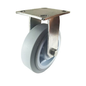 6 X 2 Stainless Steel Non marking Rubber Wheel Caster Rigid flat