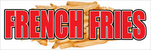2 x8 French Fries Banner Sign Fry Cart Stand Trailer Potato Wedges Frys Golden
