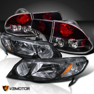 Fit 06 11 Civic 4dr Diamond Black Headlights red Tinted Tail Lamps