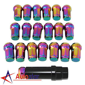 Neo Chrome 20pcs M12x1 5 Steel Locking Wheel Rim Lug Nuts For Acura Chevy Honda