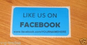Lot Of 200 Blue Like Us On Facebook Custom Your Name Here Shipping Stickers 2x1