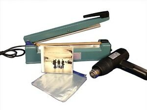 Shrink Wrapping System 500 6 5 x10 Dvd Bags 8 heat Sealer Heat Gun