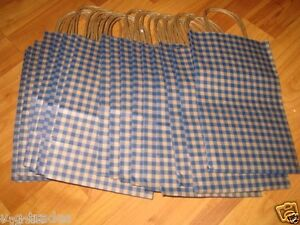 25 Paper Shopping Bags Blue Gingham Gift Retail Merchandise 5 X 3 X 8
