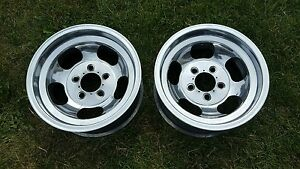 2 Rocket Sprint Style 14x7 5 Rims Mags Slotted Slot Wheel Hot Rod Rat Gasser