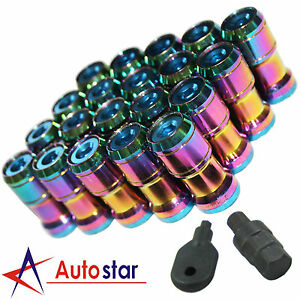 Neo Chrome M12x1 5 Extended Dust Cap Steel Wheel Rims Lug Nuts With Lock Key