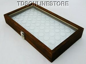 Rustic Antique Brown Color Glass Top Display Case With 50 Gem Jars White