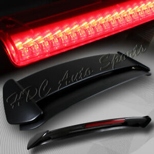 For 1996 2000 Honda Civic 3 dr Black Abs Type r Spoiler Wing W led Brake Light