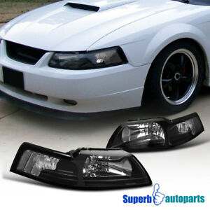 For 1999 2004 Ford Mustang Head Lights Corner Lamps Black