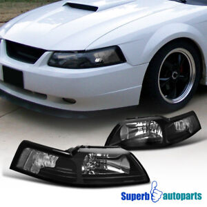 1999 2004 Ford Mustang Head Lights Corner Lamps Black W Clear Reflector