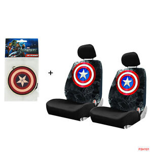 New Captain America Shield Logo Car Truck 2 Front Seat Covers Air Freshener