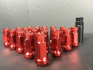 20 X Red Finish Open End Lug Nuts 48mm 12x1 5 Wheel Nut Set W Key Acura Lexus