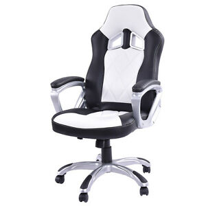 High Back Racing Style Bucket Seat Gaming Chair Swivel Office Desk Task White