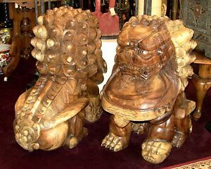 Huge Hand Carved Solid Teak Foo Dog Lions Very Heavy Price Reduced
