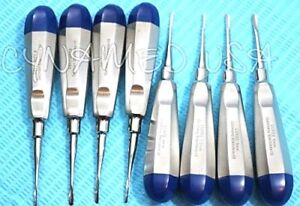 German Dental Luxating Elevator Tooth Extracting Tools 8 Pcs Straight Curved