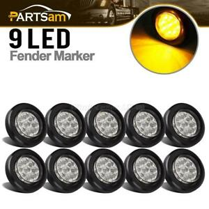 10x 2 Round Led Marker Lights 9led W Reflector Clear amber Kits Grommet pigtail