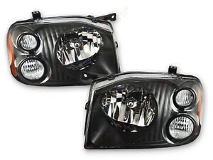 Pair Eagle Eyes Black Housing Headlights For 2001 2004 Nissan Frontier Lh Rh