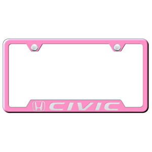 Honda Civic On Pink Cut out License Plate Frame Officially Licensed