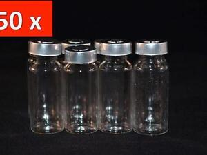 50 Pcs 10ml Empty Sample Vials Clear Glass Bottles Medical Rubber Aluminum Seal