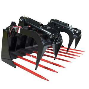 60 Tine Fork Grapple Bucket Silage Rake Manure Hay Bale Skid Steer Loader Rock