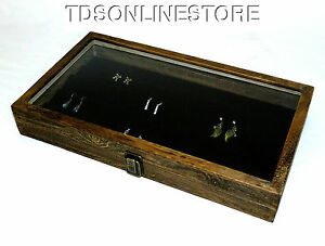 Rustic Brown Glass Top Jewelry Case With 90 Earring Black Insert