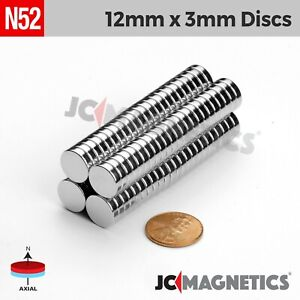 12 100 500pcs 12mm X 3mm 1 2 X 1 8 N52 Strong Rare Earth Neodymium Magnet Disc