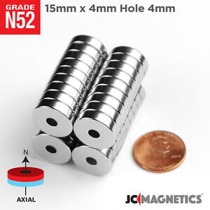 5 10 25 50pc 15mm X 4mm Hole 4mm Ring Disc Rare Earth Neodymium Craft Magnet N52