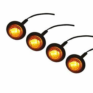 4pack 3 4 Inch Round Led Turn Signal Kit Side Marker Clearance Light Amber Sxs